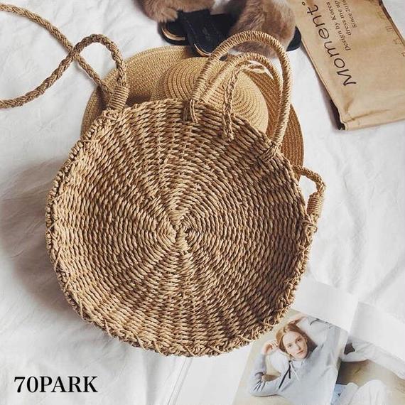 #Round Basket Shoulder Bag ラウンド型 かご ショルダーバッグ 全2色 サークル カゴバッグ