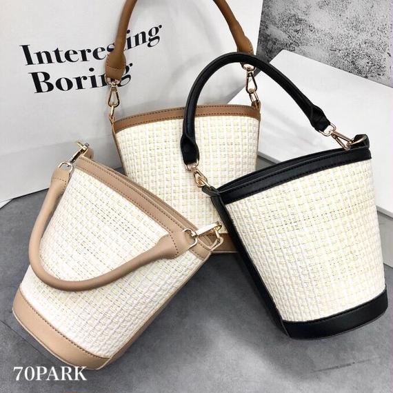 #2way Simple Basket Bag  シンプル かご バケツ バッグ 全3色 ショルダー