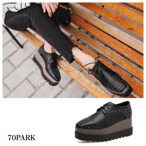 #Mini Studs Platform Shoes ミニ スタッズ レースアップ プラットフォーム 厚底 シューズ 黒