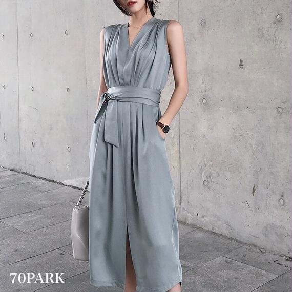 #Gathered Shoulder Dress ベルト付 ギャザー ショルダー Vネック ワンピース 全2色 パーティー