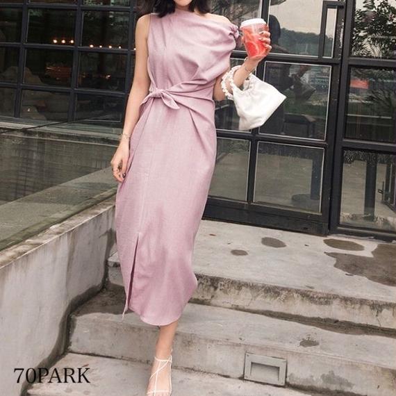 #Bow Tie Asymmetry Dress リボン アシンメトリー ロング ワンピース 全3色 パーティー