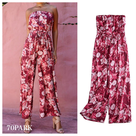 #Floral Print Tube Jumpsuit  ベアトップ  花柄  オールインワン レッド リゾート
