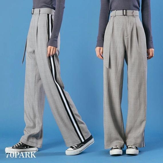 #Glen Check Side Line Wide Pants  サイドライン入り グレンチェック柄 ワイド パンツ ハイウエスト