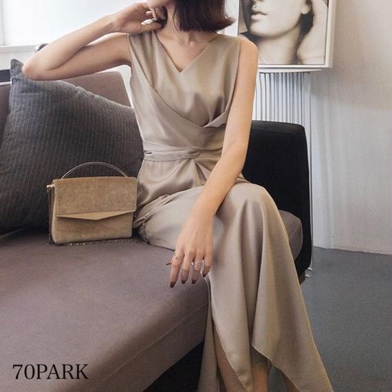 # Twist Front Dress ウエスト ツイストリボン Vネック ロング ワンピース 全2色