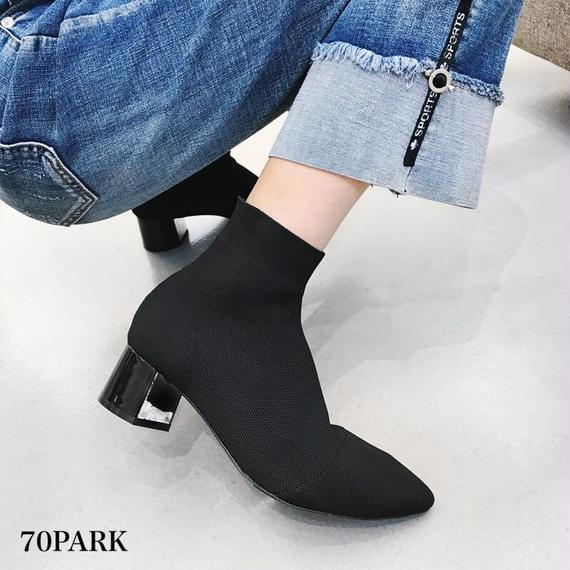 #Sock Ankle Boots 太ヒール ショート ソックス ブーツ 全2色 ブーティー