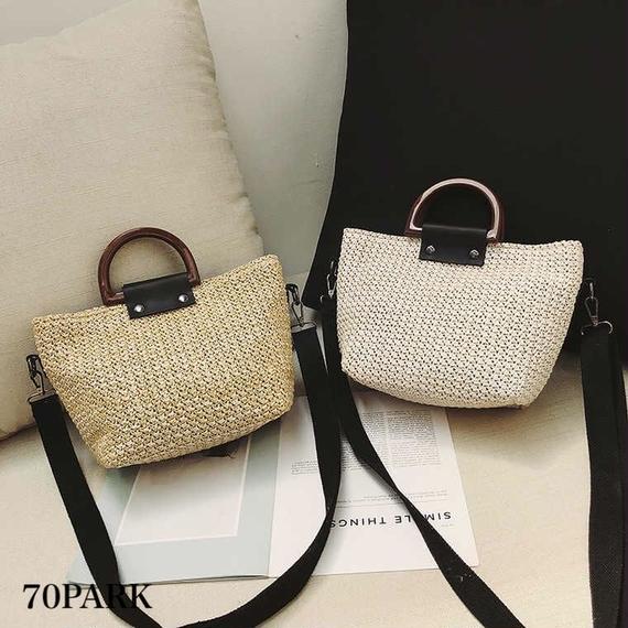 #2way  Basket Tote Bag  コンビ素材 かご トートバッグ 全4色 ショルダー