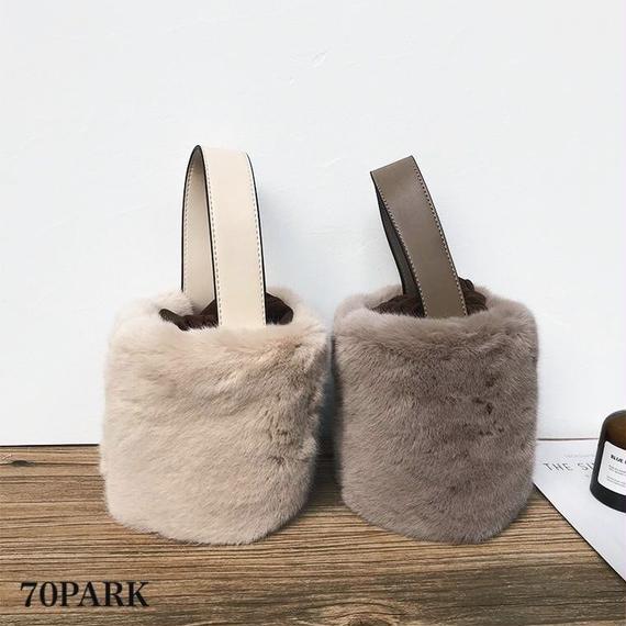 #2way Faux Fur Bucket Bag  エコファー バケツバッグ全6色 ショルダー