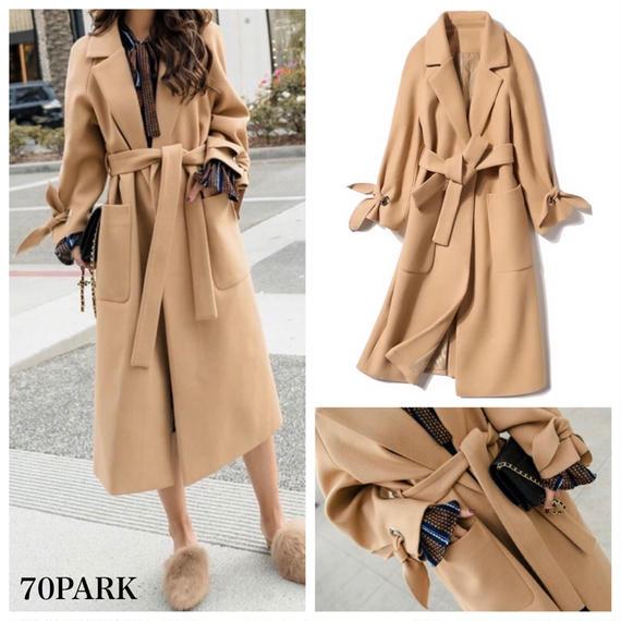 #Bow Tie Cuff  Wrap Coat  リボン袖 ロング ガウンコート 全4サイズ ベージュ ロングコート ラップコート
