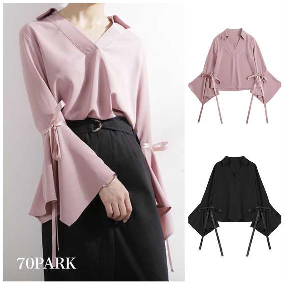 #V-neck Volume Sleeve  Blouse 袖リボン フレアスリーブ スキッパー シャツ 全2色