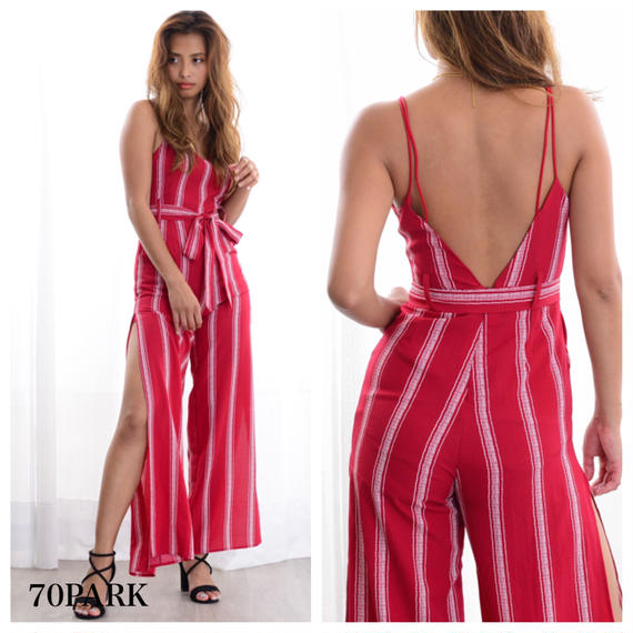 #Red Striped Side Slit Jumpsuit  レッド ストライプ サイドスリット  オールインワン 赤 リゾート