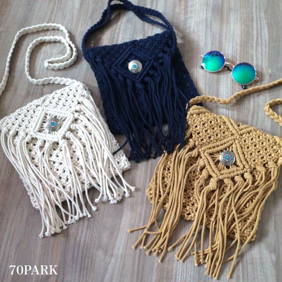 #Crochet Fringe Shoulder Bag コンチョ付きクロシェフリンジショルダーバッグ