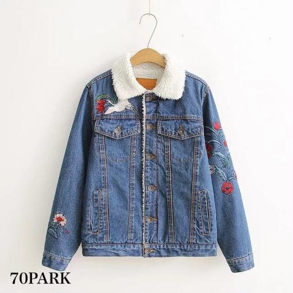 #Flower Embroidered Boa Denim jacket フラワー 刺繍入り 内側 ボア デニムジャケット Gジャン ブルー