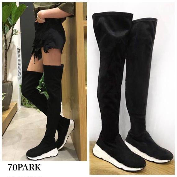 #Over The Knee Sneaker Boots  スエード調 ニーハイ スニーカー ブーツ ブラック ソックスブーツ