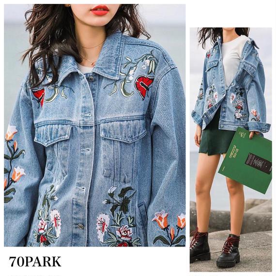 #Floral Embroidered Denim Jacket  フラワー  刺繍 デニムジャケット Gジャン ブルゾン