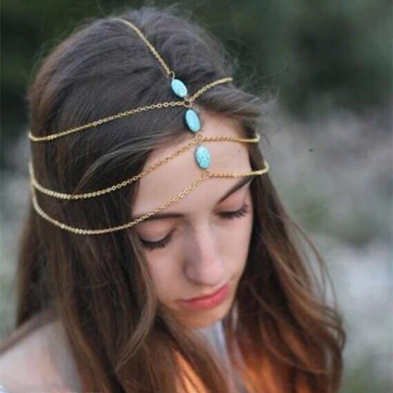 #Triple Turquoise Head Chain トリプルターコイズヘッドチェーン