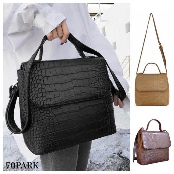 #Croc Embossed Shoulder Bag クロコ 型押し フラップ ショルダーバッグ 全3色