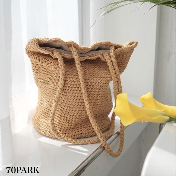 #Crochet Tote Bag クロシェ 編み トートバッグ 全3色 かごバッグ
