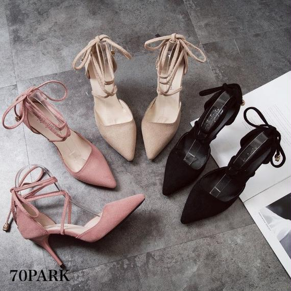 #Faux Suede Lace Up Heels スエード調 レースアップ 細ヒール 美脚 パンプス 全3色