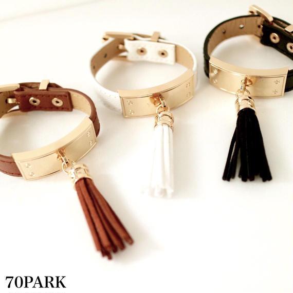 #Tassel leather bracelet タッセル付きレザーブレスレット