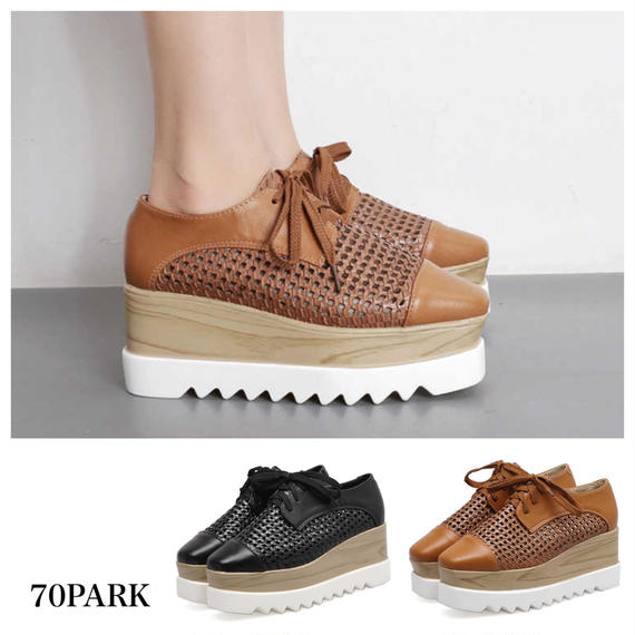 #Lace Up Mesh Platform Shoes  メッシュ レザー プラットフォーム 厚底 シューズ 全2色