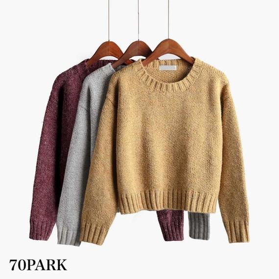 #Mix Color Crew Neck  Knit  ミックス カラー クルーネック  ニット 全8色 リブ
