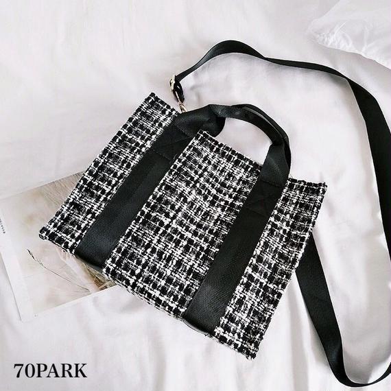 #2way Tweed Check Tote Bag  ツイード チェック トートバッグ 全2色  ショルダー