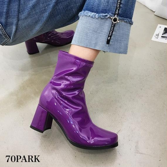 #Faux Patent‐Leather Round Toe Boots カラー エナメル ラウンドトゥ 太ヒール アンクル ブーツ 全3色