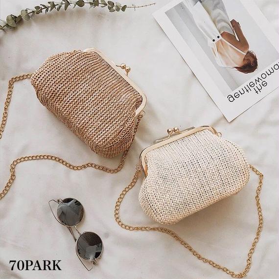 #Metal Clasp Chain Bag  がま口 かご チェーン バッグ 全3色  カゴバッグ