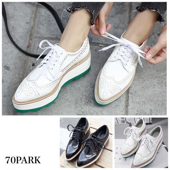 # Wingtip Platform Shoes ウイングチップ 配色 レースアップ 厚底 プラットフォームシューズ 全2色