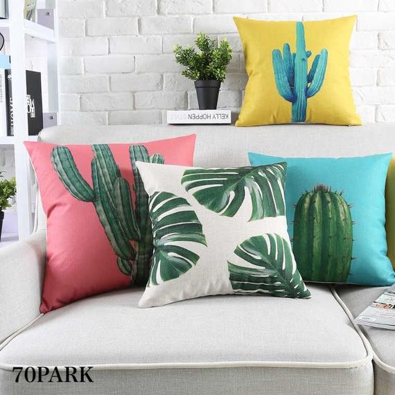 #Tropical Print Cushion Cover リネン 南国 プリント カラフル クッションカバー 全6タイプ