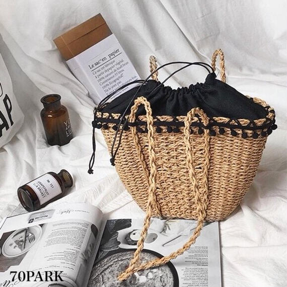 #Pom Pom Mini Basket Bag ミニ ポンポン付き かご トートバッグ カゴバッグ