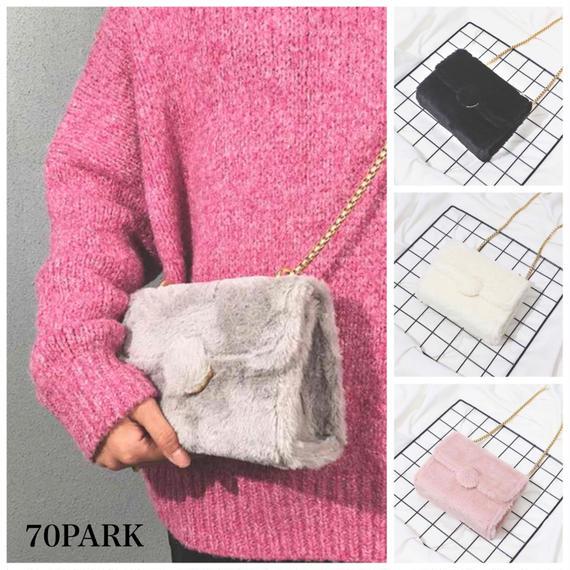 #Faux Fur Box Chain Shoulder Bag  フェイクファー ボックス チェーンバッグ 全4色 ショルダー