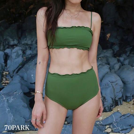 #Tube Top High Waist Bikini  フリル ハイウエスト チューブ ビキニ グリーン 水着