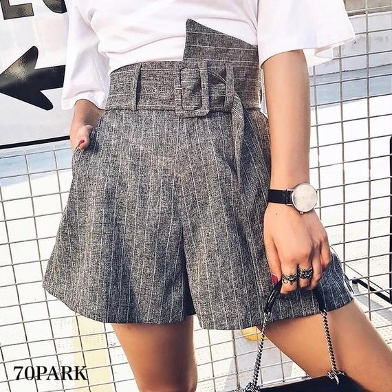 #Belted Striped Shorts ストライプ柄 変形 ショートパンツ グレー キュロット