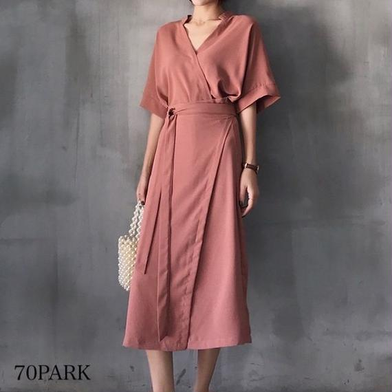 #Half Sleeve Wrap Dress ウエストリボン ラップ ワンピース シャツ ワンピ