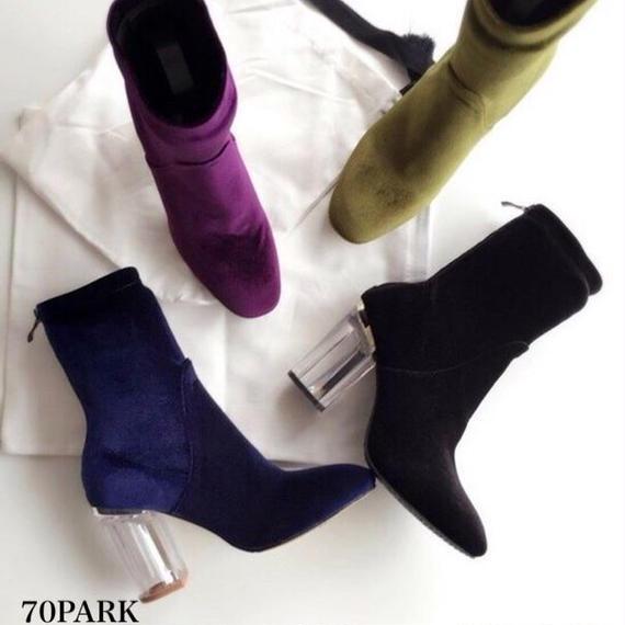 #Clear Heel Velvet Sock Boots クリアヒール ベロア ソックブーツ  全5色 ソックスブーツ アンクル