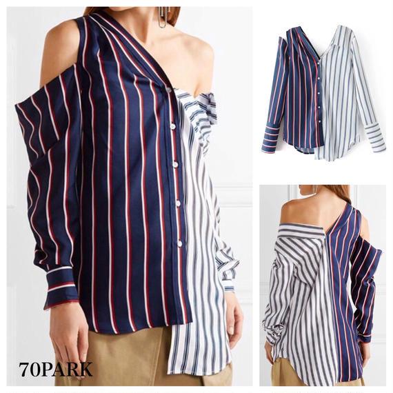 #Asymmetric Striped Shirt ショルダーカット アシンメトリー ストライプ ルーズ シャツ