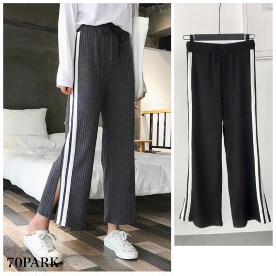 #Sideline Knit Pants  サイドライン入り リブ ニット パンツ 全2色 スリット