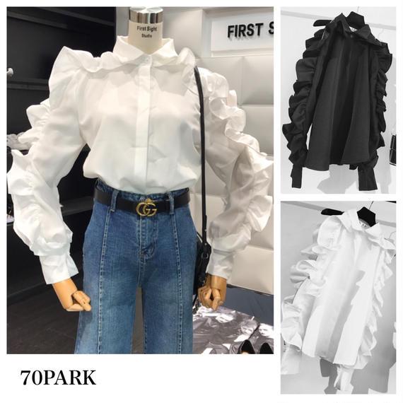 #Frill Sleeve Blouse  ジッパー付 スーパーボリューム袖 フリル シャツ ブラウス 全2色