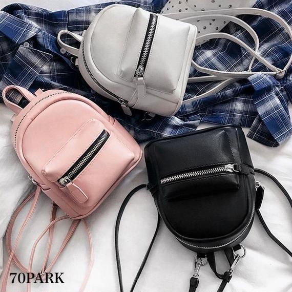 #Faux Leather Mini Backpack フェイクレザー シンプル ミニ バックパック 全3色