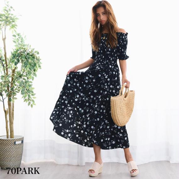 #Floral Off The Shoulder Maxi Dress  小花柄  オフショルダー ロング ワンピース 黒 マキシ