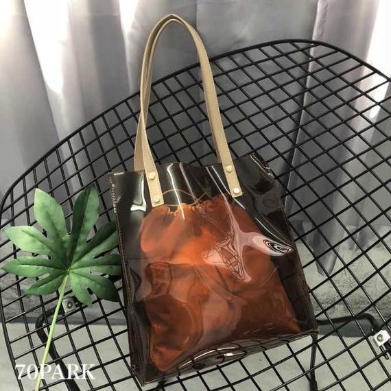 # PVC Tote Bag 巾着付き PVC クリア シンプル トートバッグ 全4色 A4