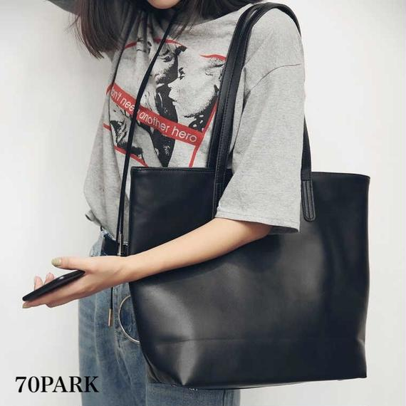 #Faux Leather Large Tote Bag 大容量 A4 シンプル フェイクレザー トートバッグ 黒