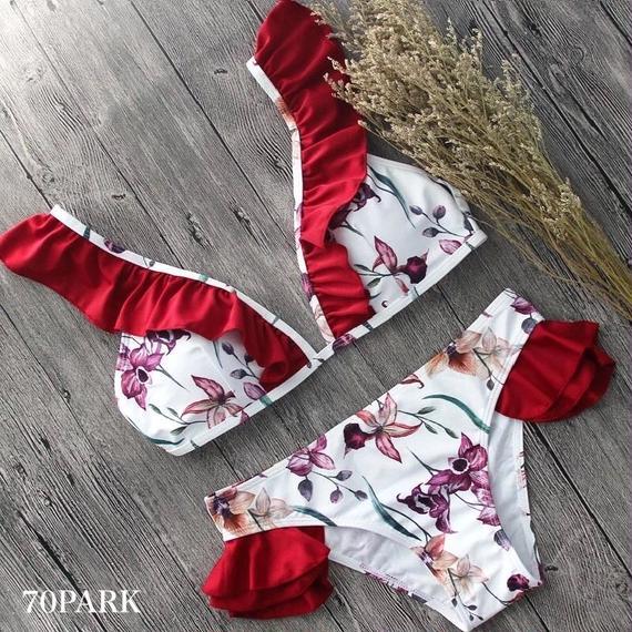 #Floral Frill Bikini  花柄 ガーリー フリル ビキニ 水着 レッド ブラジリアン