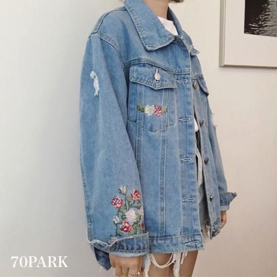 # Embroidered Denim Jacket   刺繍 デニムジャケット Gジャン ブルゾン