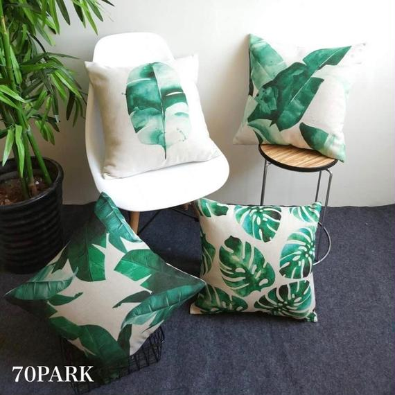 #Leaf Print Cushion Coverリネン 大判リーフ柄 クッションカバー 全4タイプ