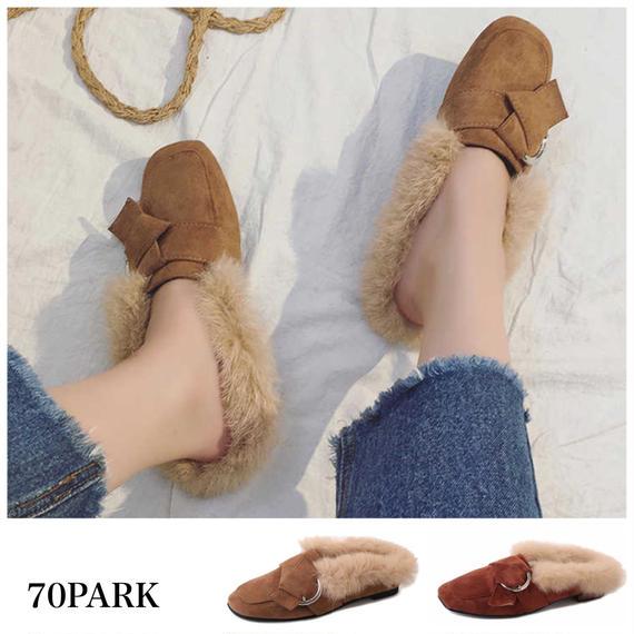#Faux  Fur Loafers スエード調 フェイクファー スリッパ 全2色 ペタンコ