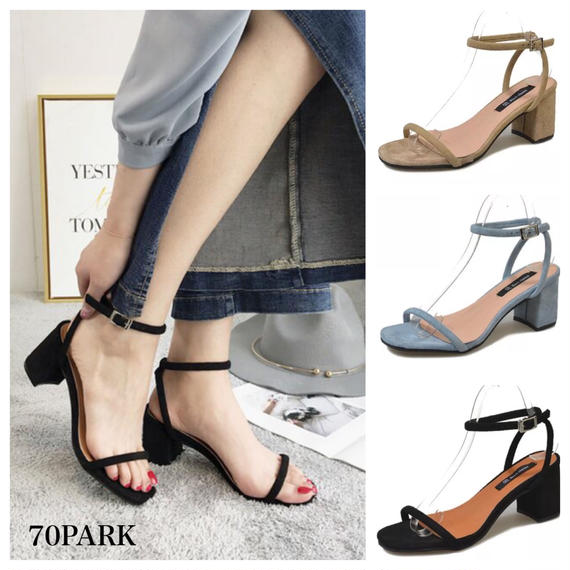 #Strap Heel Sandals スエード調 華奢ストラップ 太ヒール サンダル 全3色