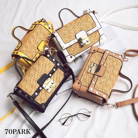 #2way Box Basket Bag ゴールド金具 ボックス型 かご ショルダー バッグ 全4色  カゴバッグ