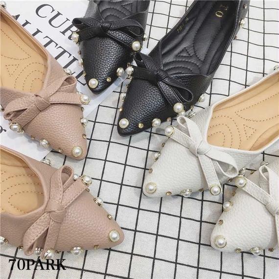 #Pearl Bijoux × Bow Pumps パールビジュー付 ポインテッドトゥ リボン パンプス 全3色
